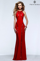 F7510 Red Jersey Evening Dress