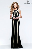 F7573 Round halter neckline evening dress with enhancing figure shaping strips details.