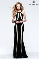F7573 Round halter neckline evening dress with enhancing figure shaping strips details.
