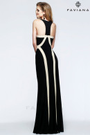 F7573 beautifully sculpted black and ivory jersey evening dress