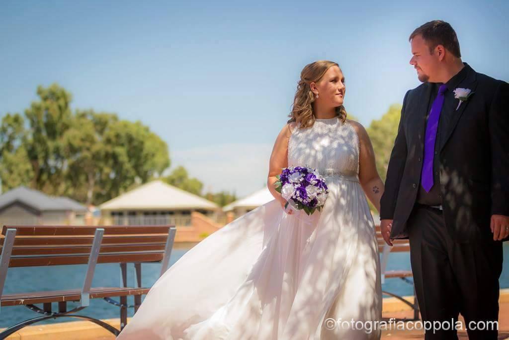 Lovely in her maternity wedding dress
