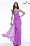 F7364 sequin top chiffon evening dress