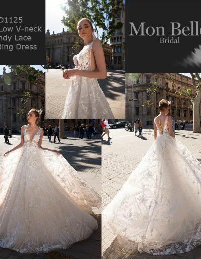 ID1125 Deep Low V-neck Trendy Lace Unique Wedding Dress