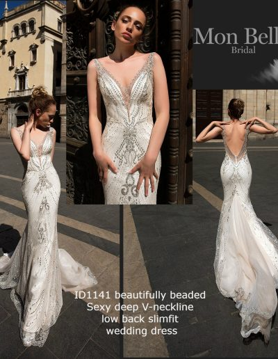 ID1141 beautifully beaded sexy deep V-neckline low back slimfit mermaid unique wedding dress
