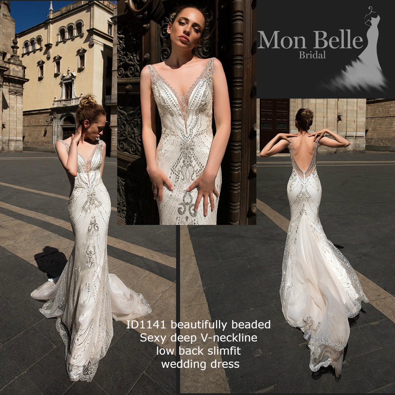ID1141 beautifully beaded sexy deep V-neckline low back slimfit mermaid unique wedding dress