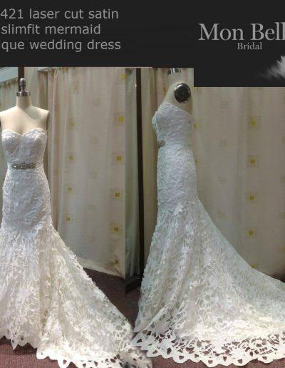 K1421 laser cut satin slimfit mermaid unique wedding dresses