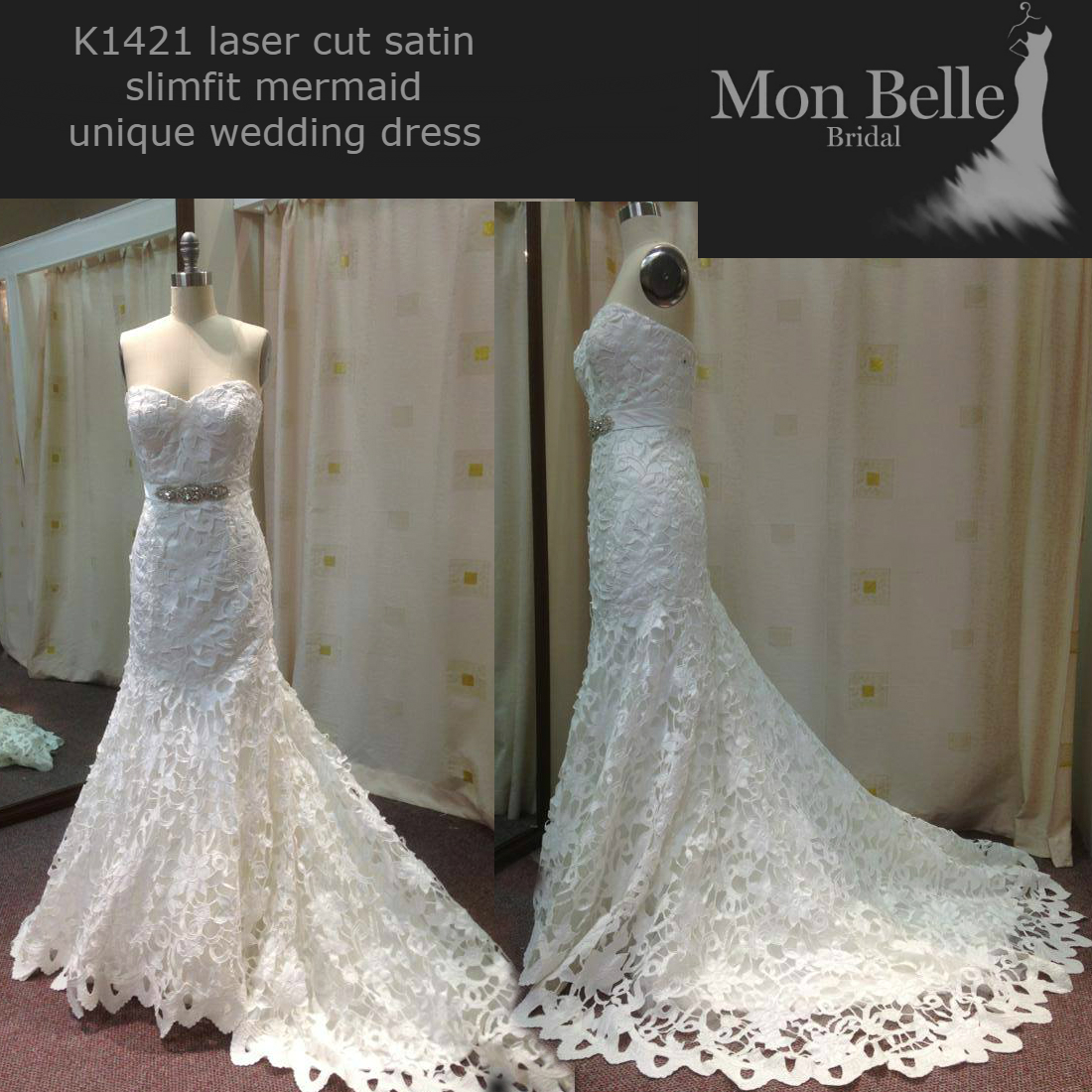 K1421 laser cut satin slimfit mermaid unique wedding dresses