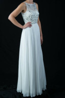 LL010 illusion neckline beaded bodice sunray pleated skirt ball gown