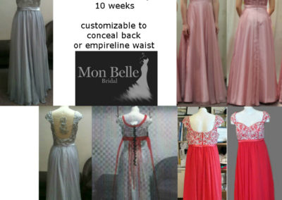 LL014 embriodery beaded low back custom evening dresses popular as bridesmaid dresses or prom gowns