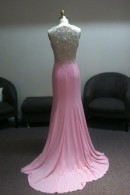 Illusion beaded back prom dress