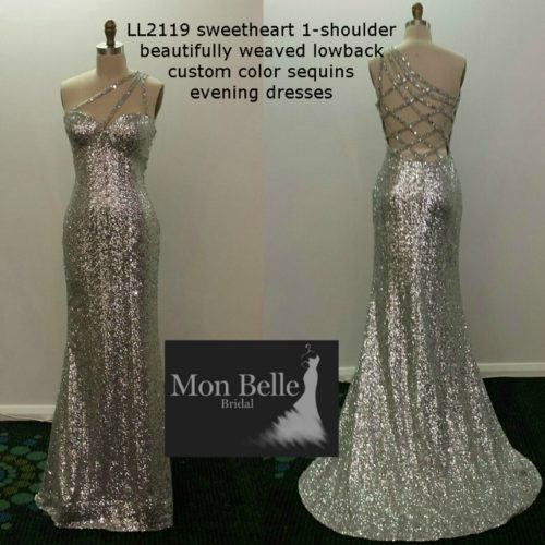 LL2119 sweetheart 1-shoulder beautifully weaved lowback custom colors sequins evening dresses