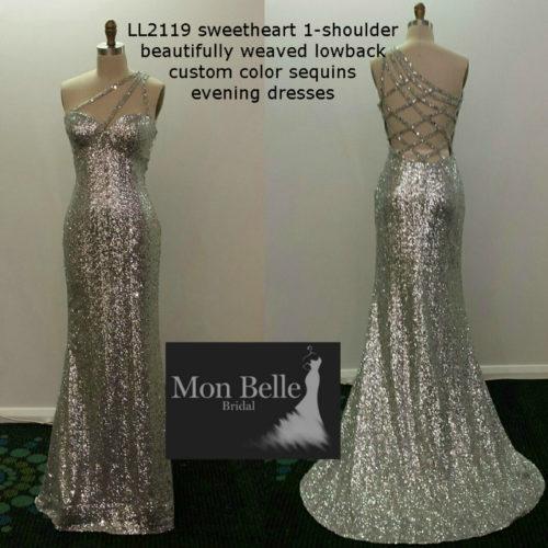 LL2119 sweetheart 1-shoulder beautifully weaved lowback custom colors sequins evening dresses