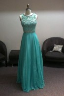 LL2352 illusion beaded evening dress