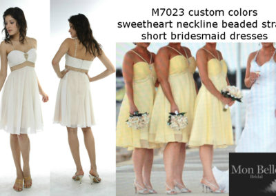M7023 custom colors bridesmaids short dresses