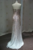 Sequin ball gown with train
