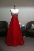 O1693 Red evening dress