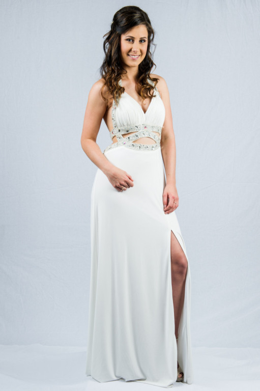 O1773 jersey lowback evening dress with cut off midriff details and front slit
