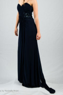 O1914 illusion cutout waist jersey ball gown with train