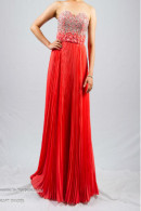 O1920 beaded bodice pleated chiffon ball gown
