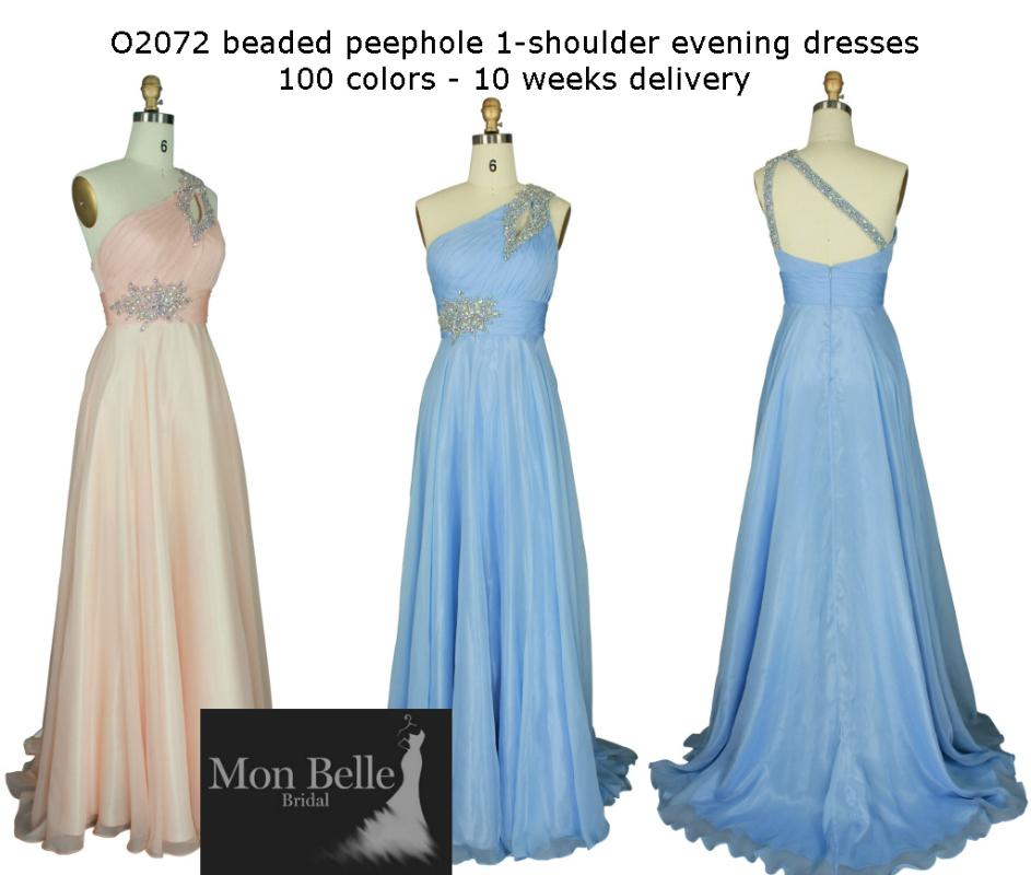 O2072 custom colors 1-shoulder evening dresses