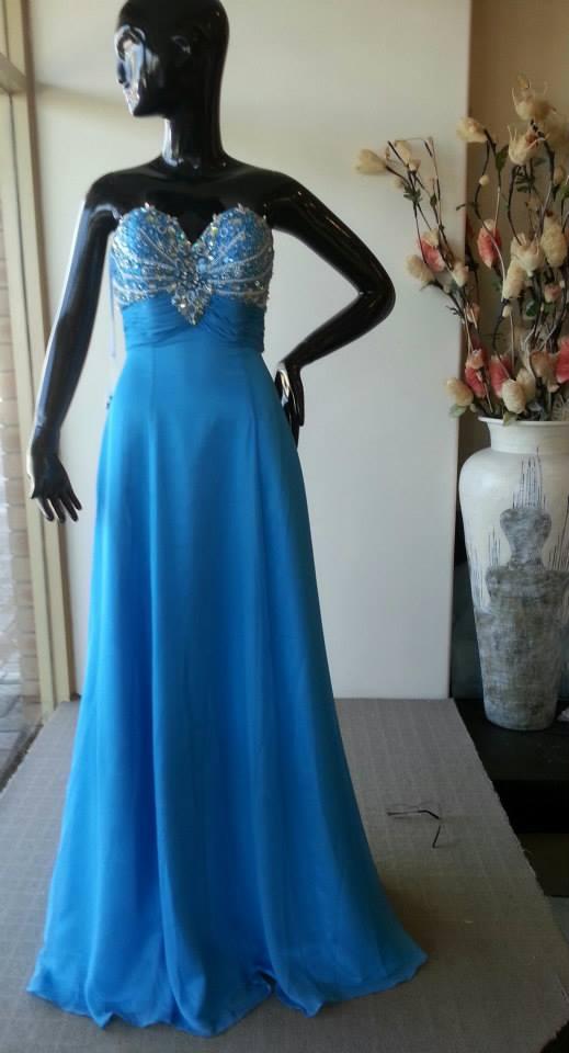 O2071 Turquoise Evening Dress