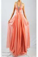 O2076 Halterneck pleated bodice flowing chiffon ball gown