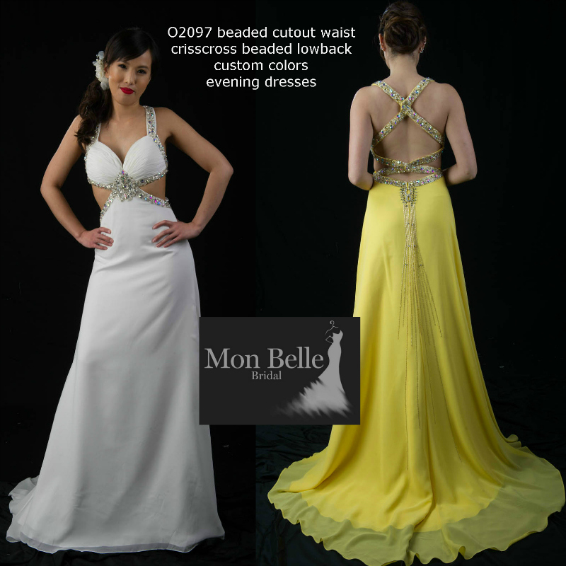 O2097 beaded cutout waist crisscross beaded low back custom colors evening dresses