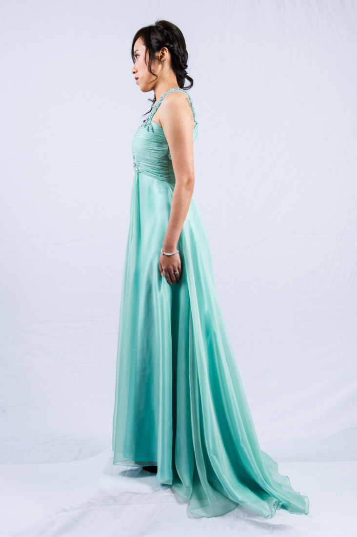O2098s-mint 1-shoulder chiffon evening dress