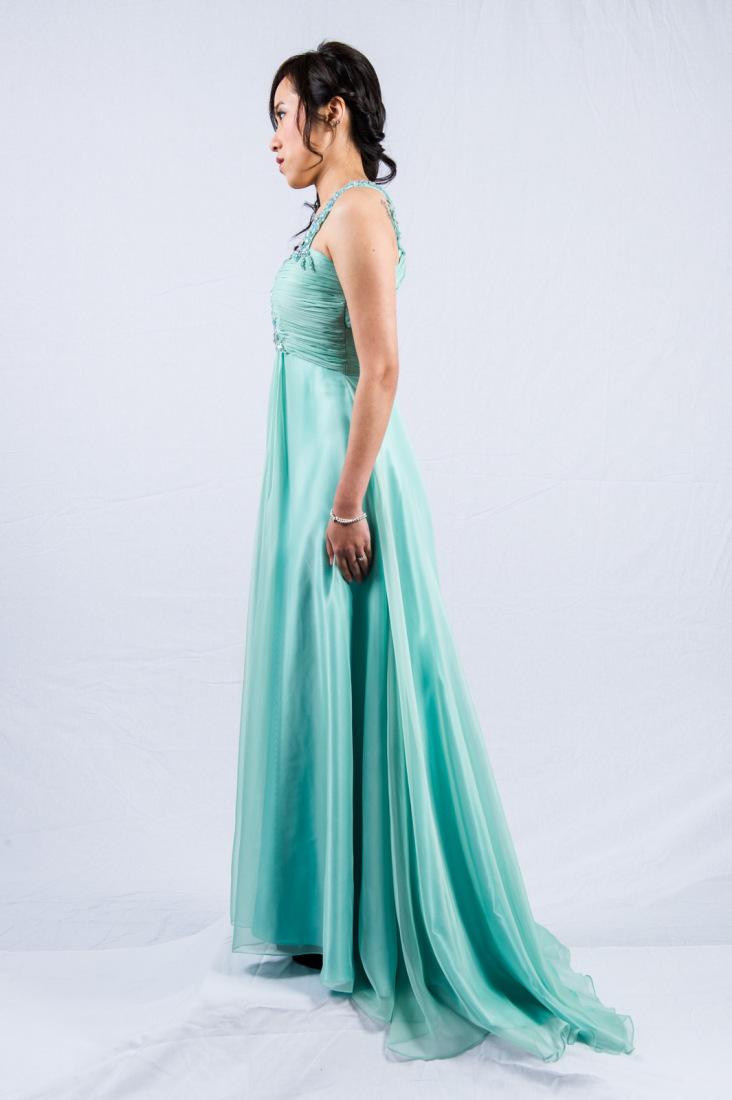 O2098s-mint 1-shoulder chiffon evening dress