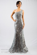 O2119 Silver sequin-balldress