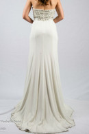 O2208 strapless evening dress with train
