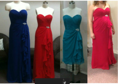 O2338 sweetheart rusched bodice with frills custom colors full length short or maternity dresses