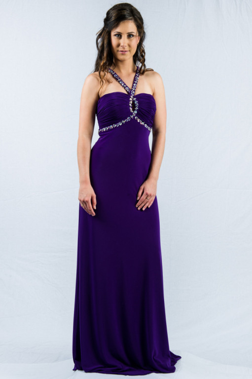 O2339 keyhole halterneck ball gown