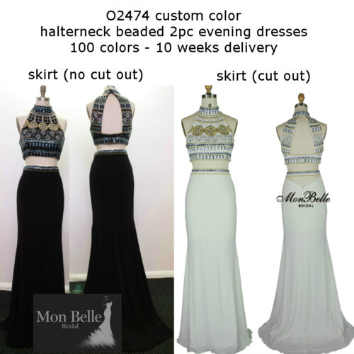 O2474 custom color halterneck beaded 2pc evening dresses Perth