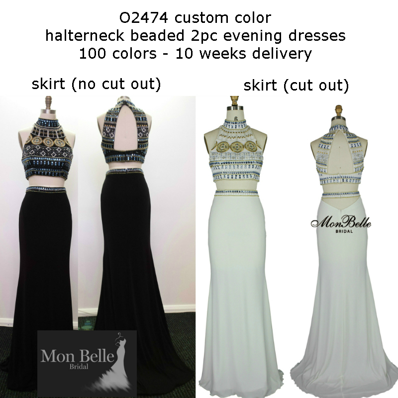 O2474 custom color halterneck beaded 2pc evening dresses Perth