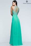 FS7560 prom dresses in Spearmint, SoftPeach, Navy or Candlelight