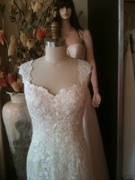 SH customdesign neckline lace wedding dress