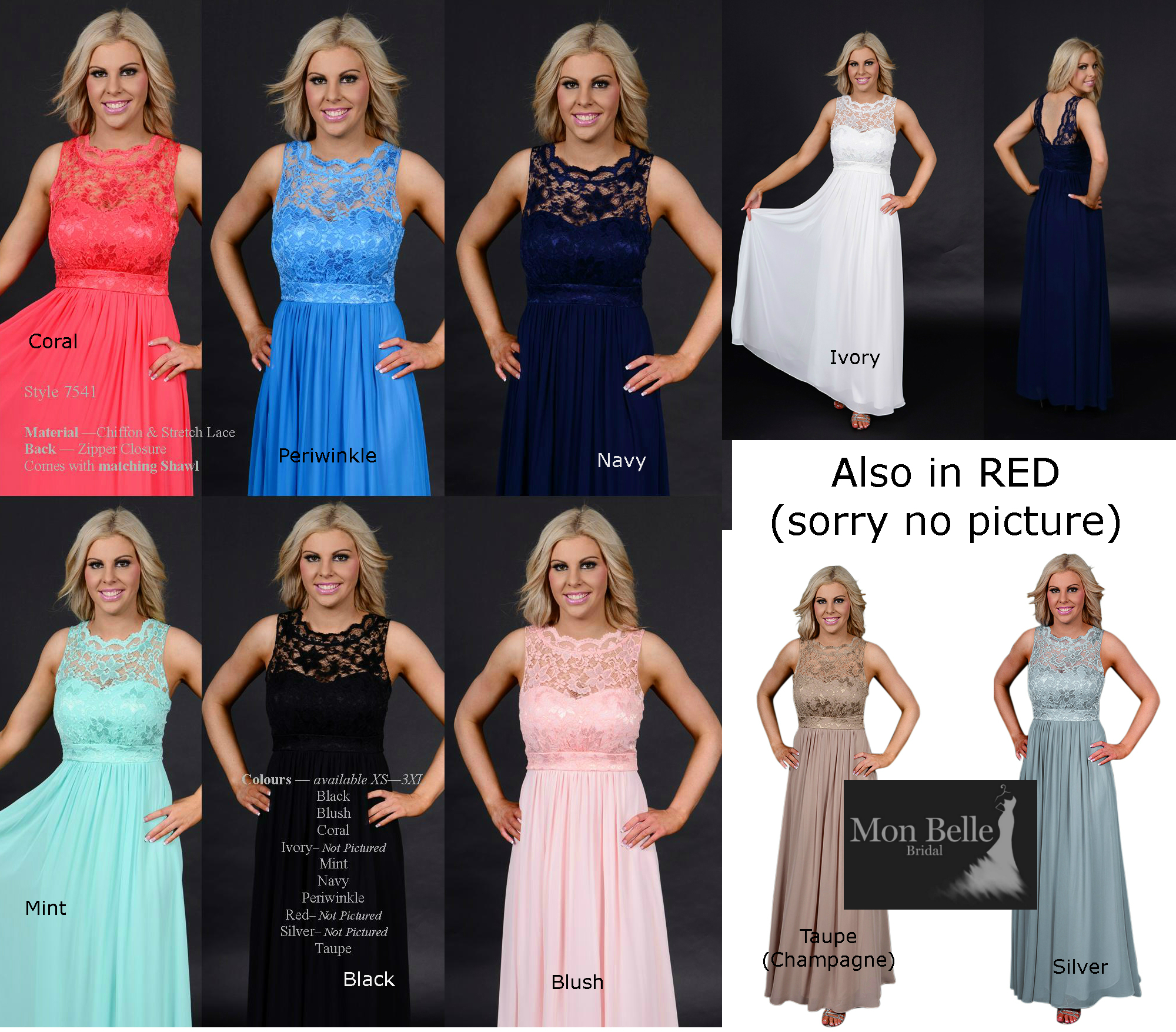 Bridesmaid dresses perth mon belle bridal wa7541 lace bridesmaid dresses colours ombrellifo Gallery