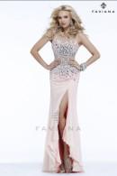 S7390 illusion neckline prom gown