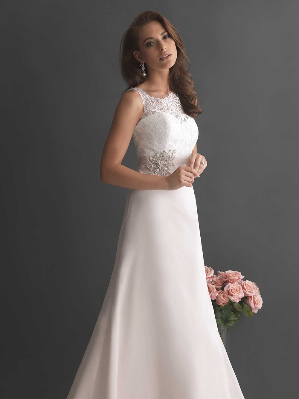 Allure 2655 lace detail top wedding dress