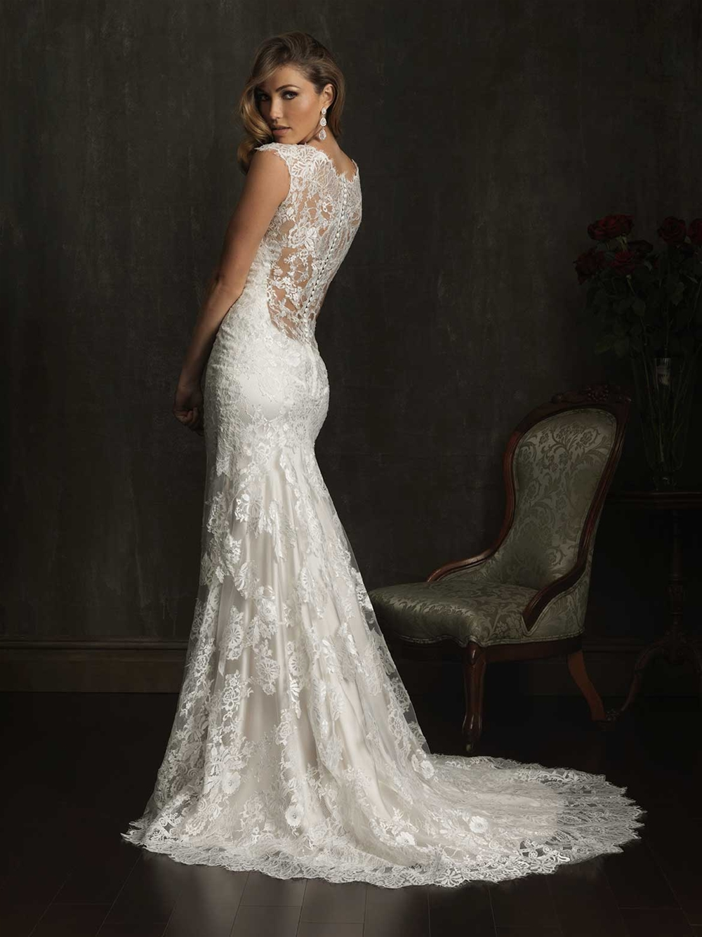 9068 illusion back wedding dress