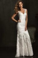 Allure 9068 V-neckline vintage lace wedding dress