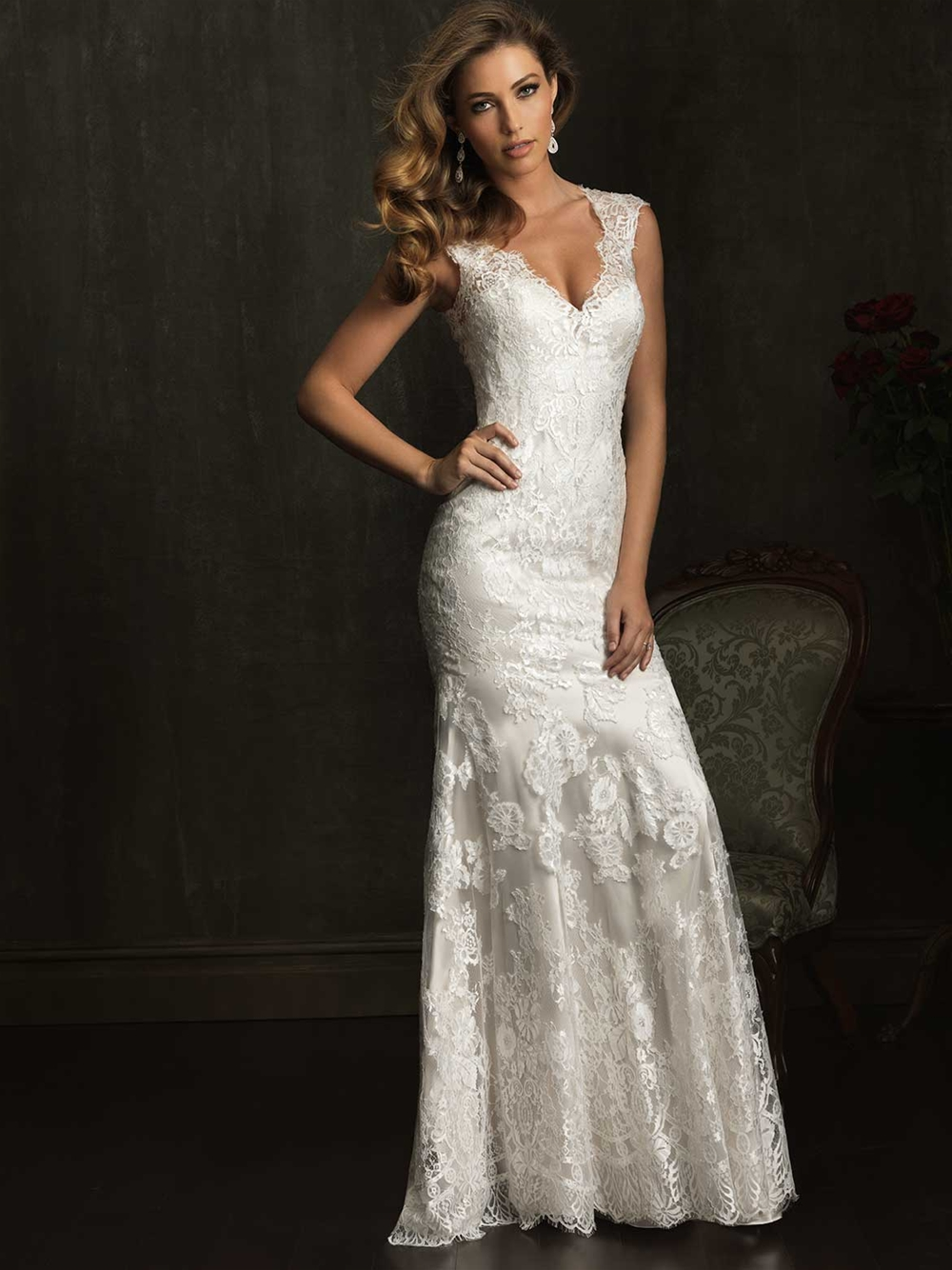 Allure 9068 V-neckline vintage lace wedding dress