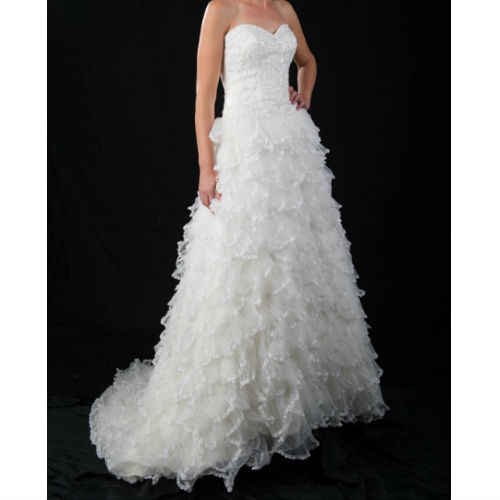 B1099 beaded bodice multitier frills wedding dress