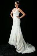 B1109 Vstrap Vintage lace fishtail wedding dress