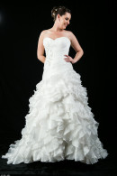 B1209 pleated bodice frill skirt wedding dress