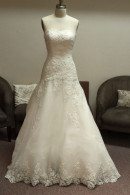 D1419 strapless organza wedding dress