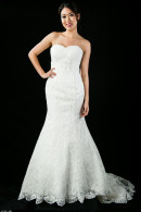D1657 Laser-cut applique mermaid Wedding Gown
