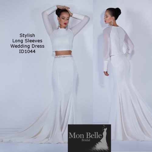 long-sleeves-2-piece-wedding-dress
