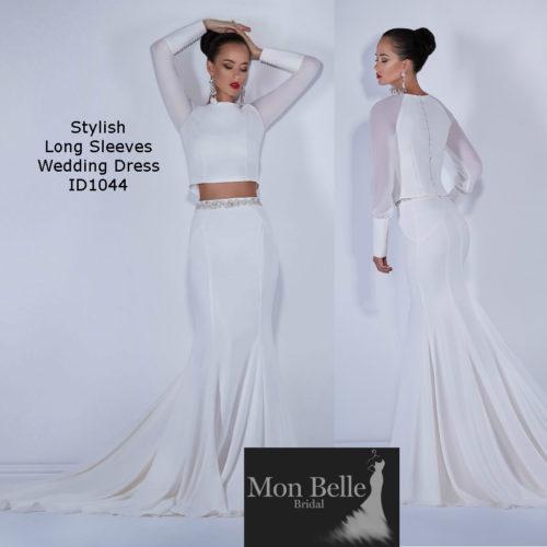 long-sleeves-2-piece-wedding-dress